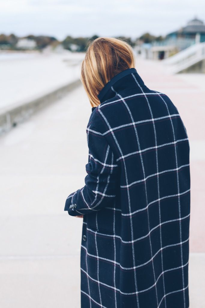 Windowpane Check Wool Coat
