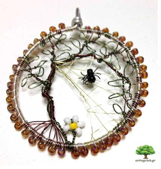 One of our favourites. A necklace which depicts nature. Cooper wire and aluminium combined with plastic beads and voilà! A spider makes its web while a little daisy lay under the tree — www.artingclub.gr  We also want to win a ticket for #worldofcrafters meeting www.worldofcrafters.gr