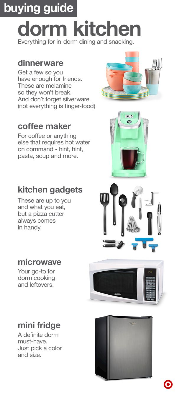 An efficient kitchen space can go a long way in any college dorm room. So whether you have friends over or just love solo snacking, it's good to have some kitchen basics covered: dinnerware (preferably unbreakable), a coffeemaker (for sure), microwave (unless you love cold food), a mini-fridge and kitchen gadgets too.