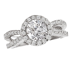 Diamond Jewellers :: Split Shank Diamond Ring with Round Halo in 18kt White Gold (D.55 carat total weight; no center stone)