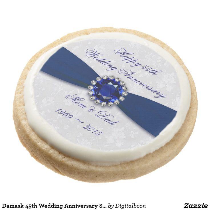 Damask 45th Wedding Anniversary Shortbread Cookies Round