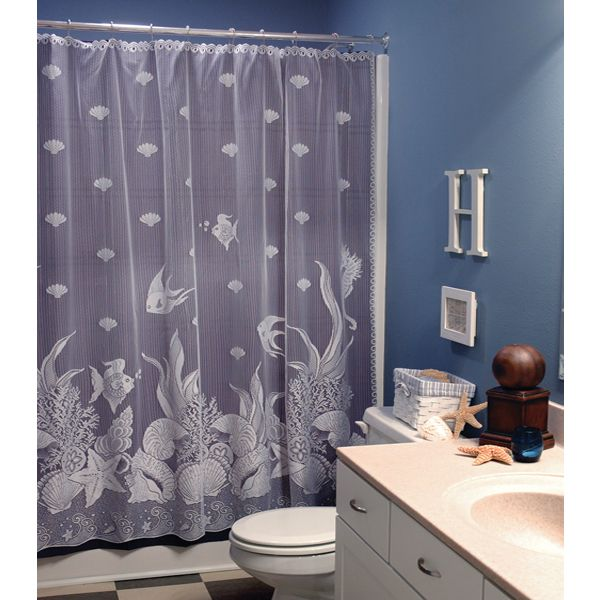 Seascape Lace Shower Curtain by Heritage Lace   Shower Curtains