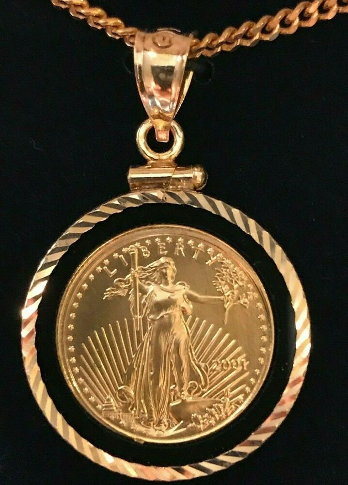 American Eagle 5 Gold Coin Necklace 1 10 Oz 14kt Black Onyx Bezel 14kt Chain Ebay In 2020 Gold Coins For Sale Gold Coin Necklace Gold Coins