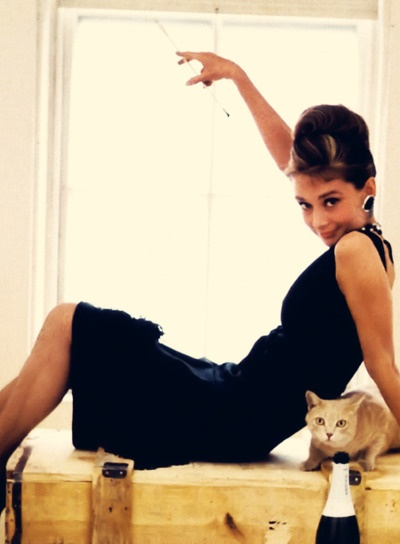 A promotional shot for Breakfast at Tiffany's - she looks like she's having so much fun!