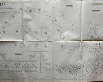Un trasferimento di grande annata ferro-sul ricamo con vari disegni per intaglio, punto piatto, punto catenella ecc (ricamo Magic) (121)
