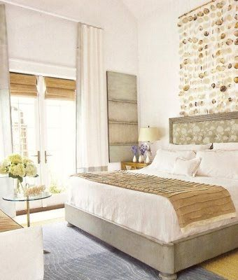 beautiful texture and natural color palette : Coastal Rooms, Shells Curtains, Beaches Rooms, Headboards Ideas, Living Bedrooms, Capiz Shells, Bedrooms Ideas, Beaches Bedrooms, Beaches Style