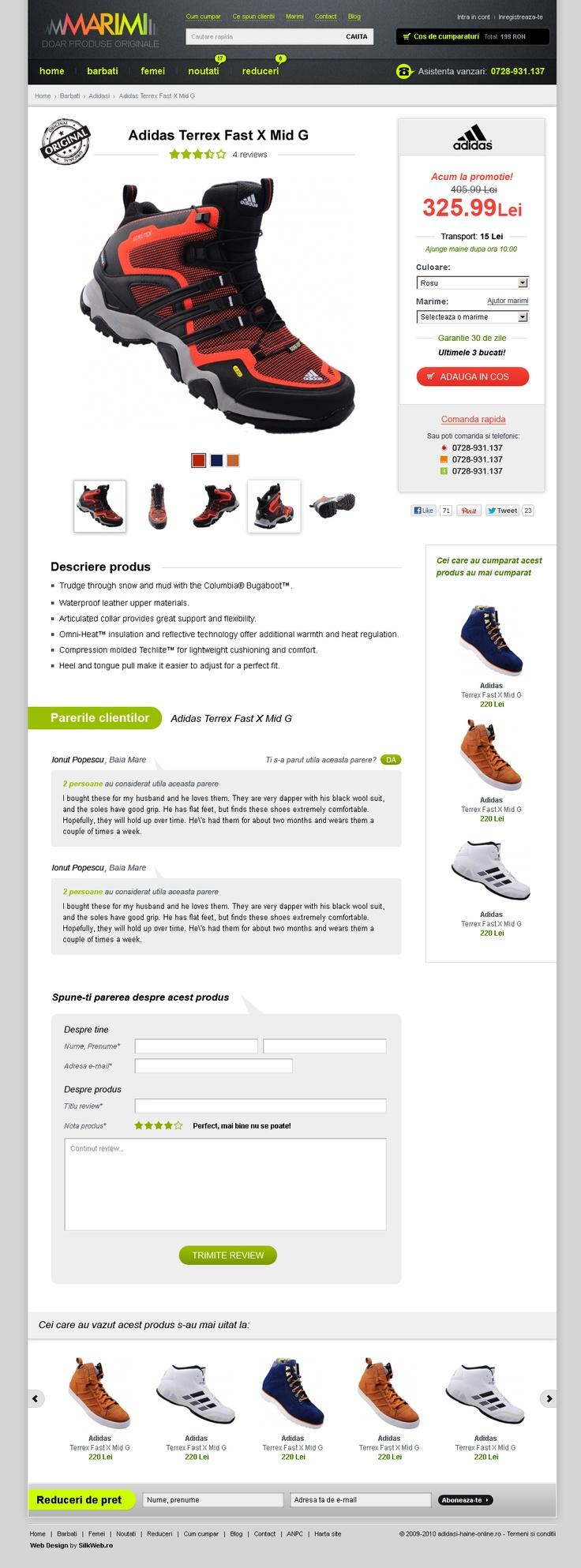 layout detalu produs magazin online marimi.ro - haine sport si adidasi originali