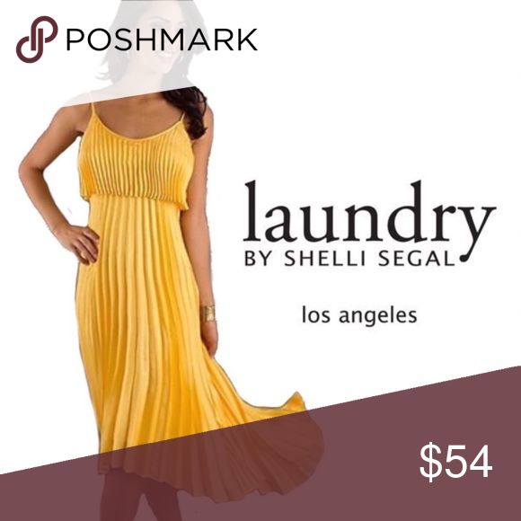 """Laundry by Shelli Segal Hidden back zip. Polyester; dry clean. Sleeveless  Label: Laundry by Shelli Segal Size: US 4 Color: Yellow Fabric: Unknown (most likely 100% polyester) Condition: In new condition Model's measurements: Height 5'6 bust 33""""/84cm, waist 25.6""""/65.2cm, hips 35.8""""/91cm, dress size US 4.   Homecoming, Holiday, Prom, Date, Wedding  DESCRIPTION:  70s look - electric yellow dress. Delicate large accordion pleating throughout.  Such a beautiful, classic silhouette. An absolute…"""