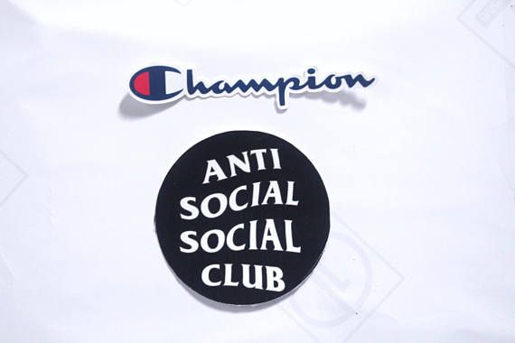 8b02131ed 2 pcs stickers Champion and anti social social club sticker | Etsy ...