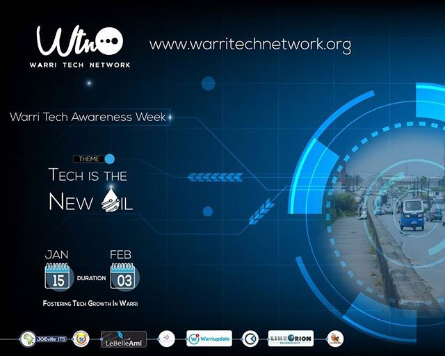 Its official. Warri Tech Awareness Week 2018 - #wataw18 begins Jan. 29 - Feb. 03. It promises to be explosive. Six days of intensive public awareness campaign for #tech in #Warri. It will feature Seminars Radio Shows Street Rallies Training Interviews & a Summit.  Graphic Design: @JOEvilleITS #TeamITS #WarriTransformation