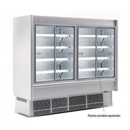 Vitrina Expositora MURAL MARKET CMI-6-125-LC Coreco. Exterior, interior y costados en acero inox ISI-304. Perfileria de aluminio anodizado