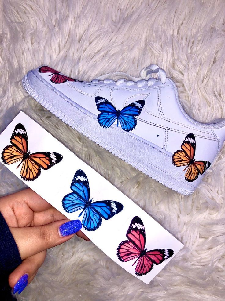 Blue Butterfly Air Force 1s Custom Sneakers, Air Force