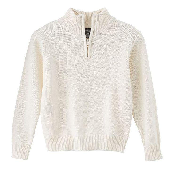 Boys 8-20 Eddie Bauer Quarter-Zip Sweater, Boy's, Size: 10-12, White
