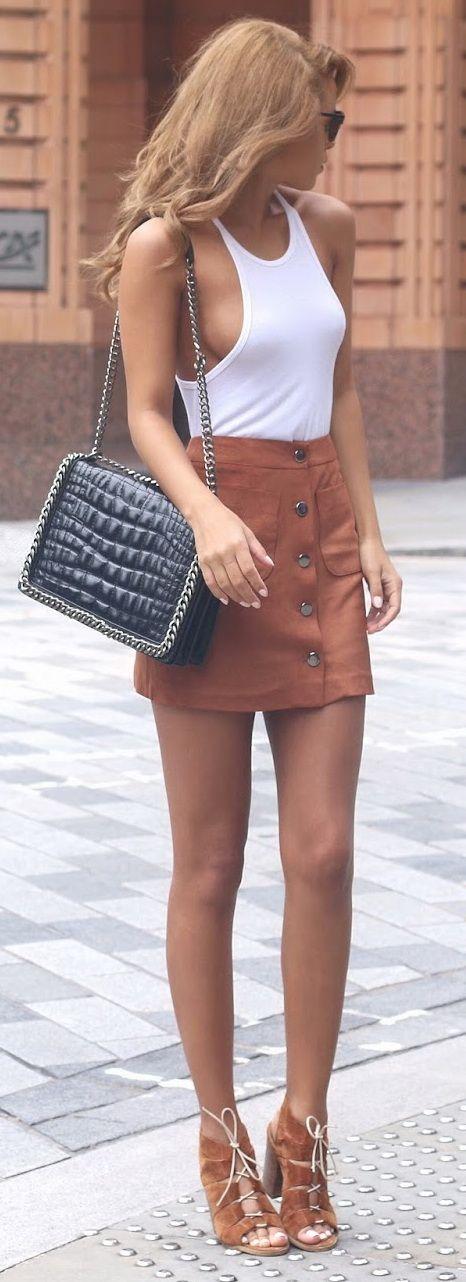 Vine Tank - Kit And Ace // Suedette Mini Skirt - Miss Selfridge // Croc And Chain City Bag - Zara