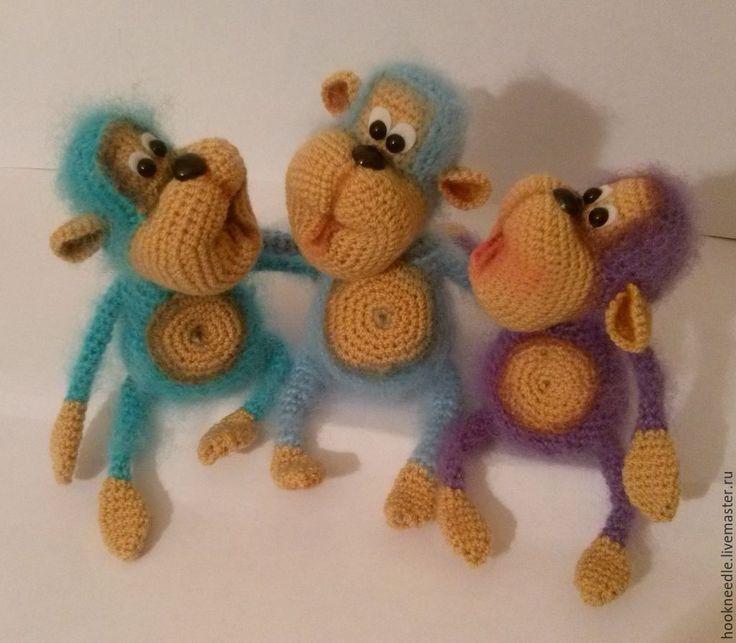 """Купить Мастер-класс """"Дружелюбный Обезьян"""" - разноцветный, обезьянка, символ года, 2016 год, год обезьяны, мохер"""