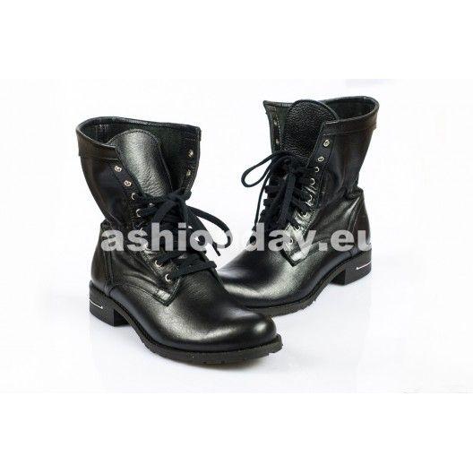 Dámske topánky - čierne, šnurovacie - fashionday.eu