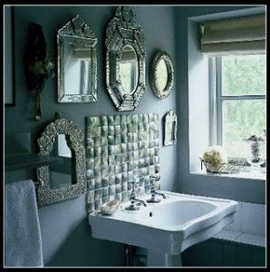 VENETIAN MIRROR MULTIPLE MIRRORS ON WALL WHITE PEDESTAL SINK GREY BATHROOM PAINT WALLS
