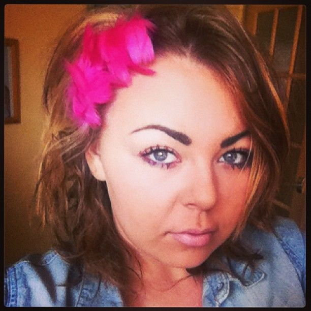 A little pink fascinator made and modelled by me :D
