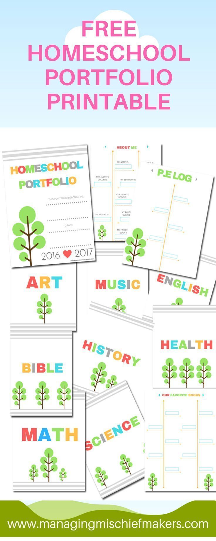 Tips for creating your homeschool portfolio along with a free printable.