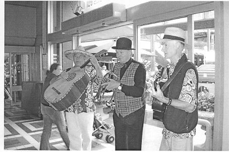 Photo of a band called the Marketeers who for a time performed regularly at Prahran Market. Rather than busking, these musicians were paid directly by the market managers. Taken 26 Feb 2006.