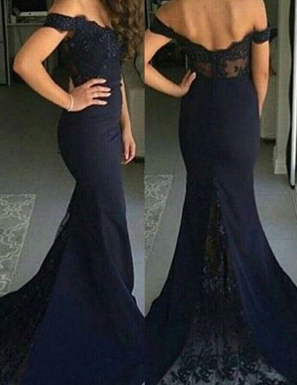 Off the shoulder prom dress,Black Prom Dresses,Mermaid Prom Dress,Fishtail prom dress,Sexy dress,Lace Prom Dress