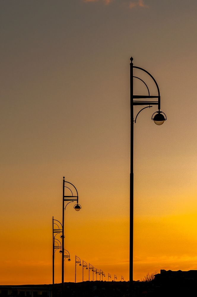 Beautiful colour in #Salthill, Galway.  I loved the line that the lamp posts on the prom gave in this shot.