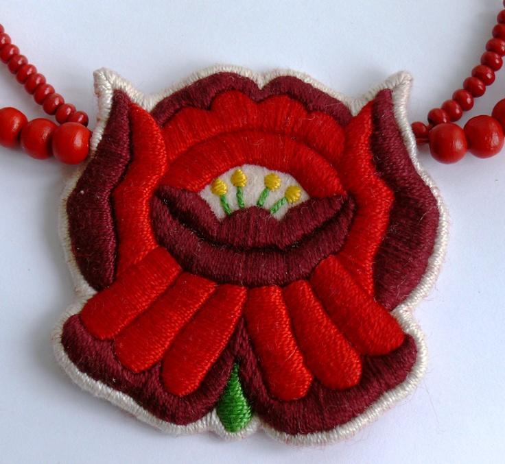 Hungarian embroidered Kalocsa necklace by Mokavicka