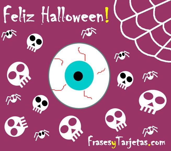 Tarjeta de halloween ojo y calavera