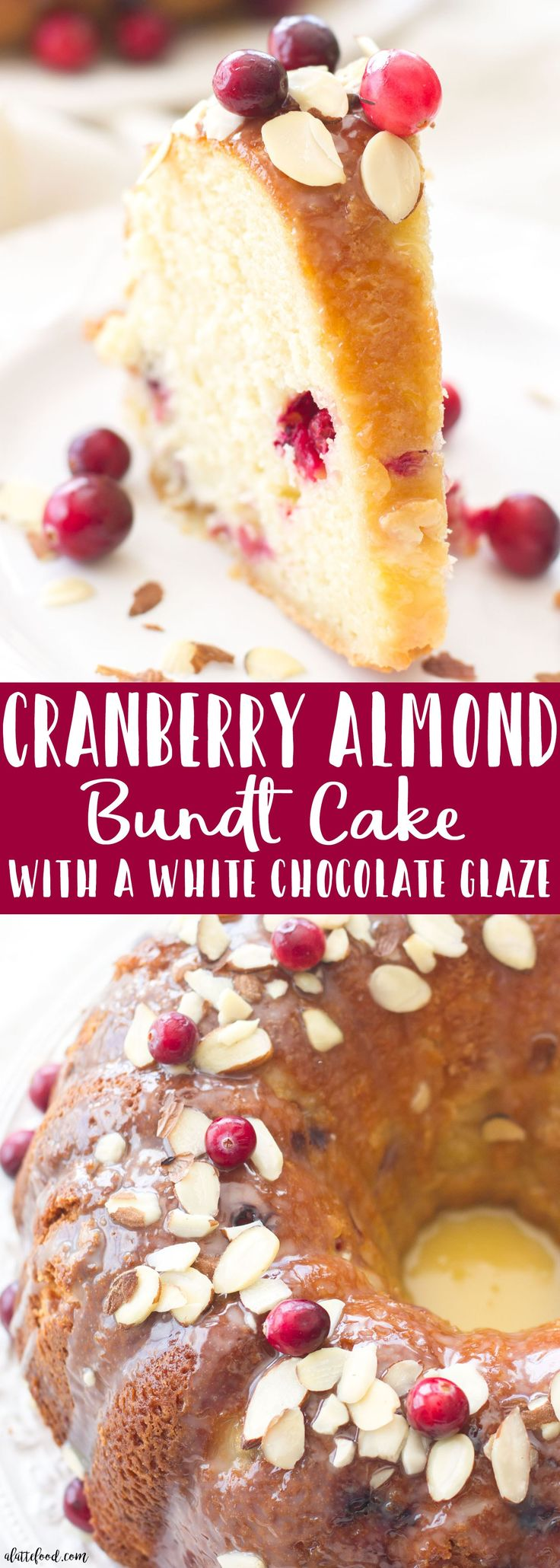 This easy cranberry almond bundt cake is made with fresh cranberries and topped with a white chocolate glaze! The sweet almond flavor pairs perfectly with the tart cranberry flavor. A fantastic Christmas dessert or Thanksgiving recipe!#cranberry #cakes #christmasdesserts #thanksgivingrecipes