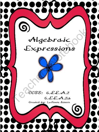 Algebraic Expressions from Math From My Angle on TeachersNotebook.com -  (7 pages)  - I created this file to review algebraic expressions with my 6th grade math students.  Includes:  words to know, examples of expressions with variables, and independent practice.  CCSS 6.EE.A.2 and 6.EE.A.2a.