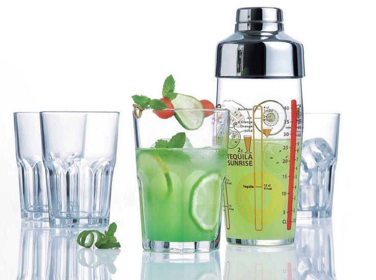 Komplet do drinków Samba shaker 580 ml + 4 kieliszki 400 ml LUMINARC