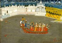 Krishna Boating. Present Location: Varanasi (Banaras), Banaras Hindu University, Bharat Kala Bhavan.  Location: Nathadwara, Rajsamand District, Rajasthan, India. Date: ca 1850 CE