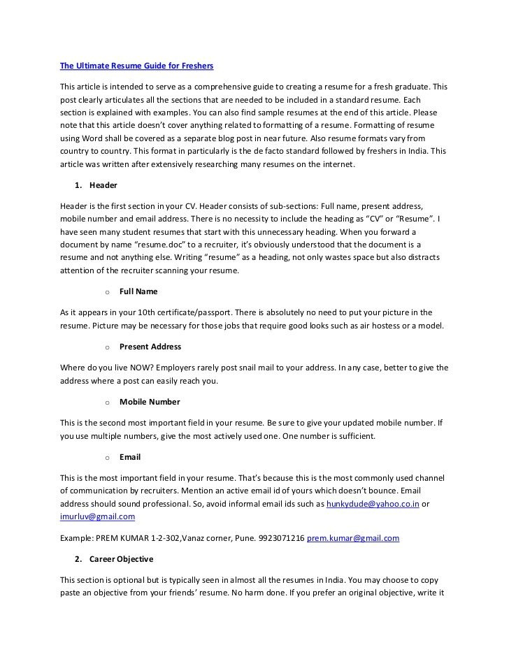 The Ultimate Resume Guide For Freshersthis Article Is Intended To Serve As A Comprehensive Guide To Creating A Resume Guide Good Resume Examples Resume Summary