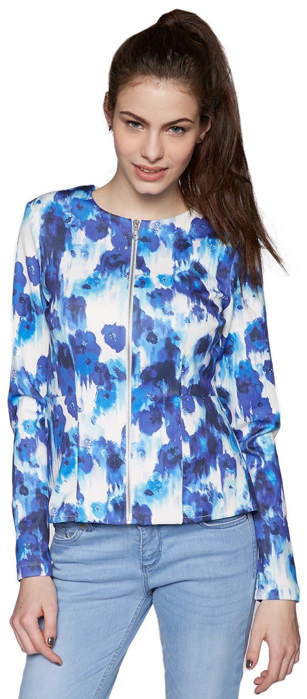 Peplum-Jacke mit Allover-Print für Frauen (gemustert, langärmlig mit Rundhals-Ausschnitt) in Neopren-Optik mit Stretch-Anteil, mit Schößchen, abstrakter Blumen-Print. Material: 92 % Polyester 8 % Elasthan...
