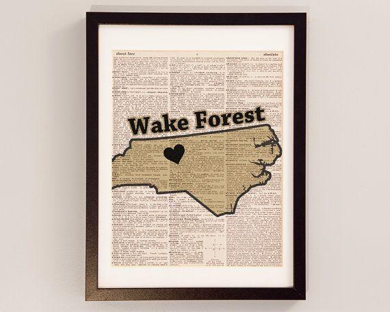 Wake Forest Dictionary Art Print - North Carolina Art - Print on Vintage Dictionary Paper - Wake Forest Demon Deacons, Winston-Salem, NC