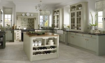 Bella Matt Olive Kitchen - By BA Components. vinyl wrapped MDF trade kitchen doors