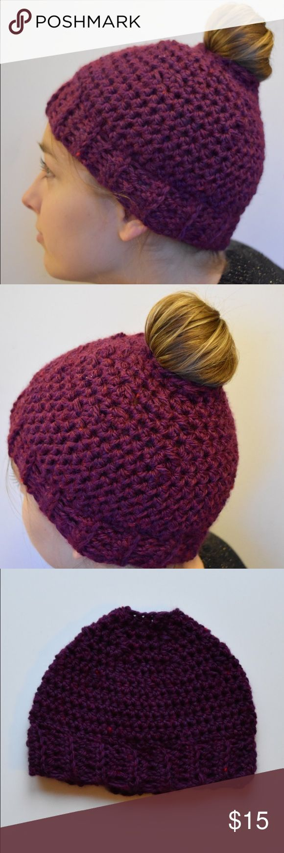Handmade Bun Hat/ Ponytail Hat Handmade crochet hat in the viral bun hat/ ponytail hat style. Opening at top leaves space to pull your bun or ponytail through. Ribbed trim  Purple Wool Blend Yarn  Machine wash gentle, lay flat to dry Accessories Hats