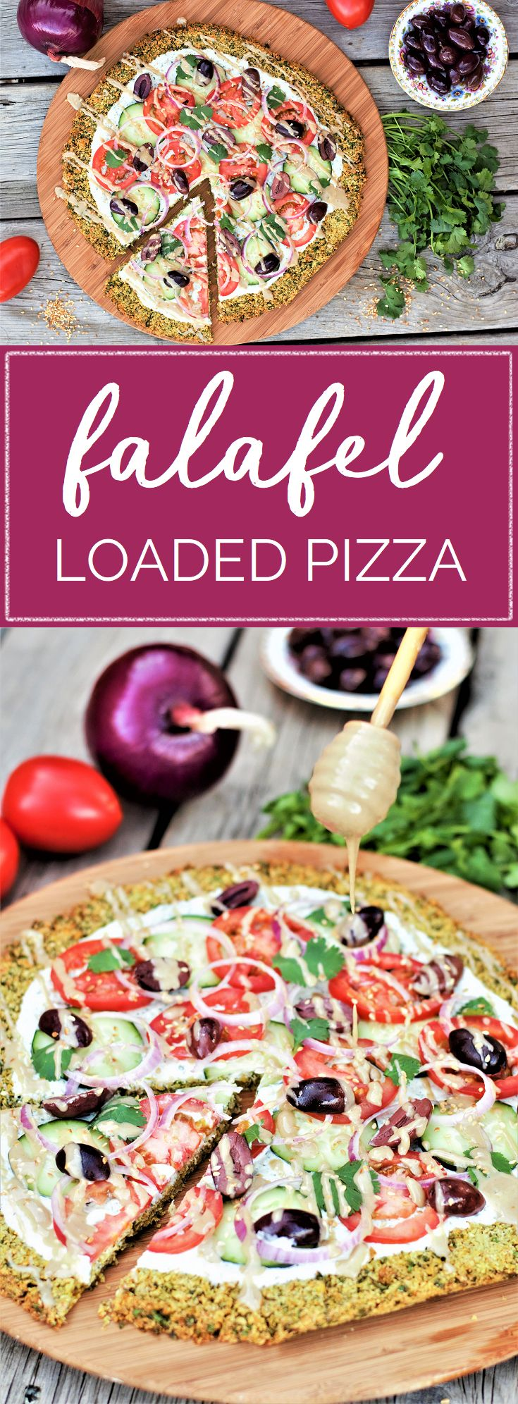 Everyone's favorite Middle Eastern sandwich on a pizza! Crunchy, bright, fresh veggies over creamy tzatziki on a crispy golden falafel crust is healthy eating at its very best: high protein & fiber, low carb, gluten free, vegetarian, zero added sugar, and downright delicious all around. #vegetarian #vegan #meatless #glutenfree #lowcarb #mediterranean #healthyeating #recipe | mountaincravings.com