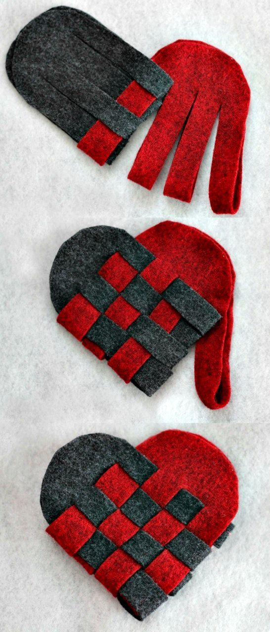 Hearts | To make from paper or felt, a classic woven heart design.| #DIY #Hearts