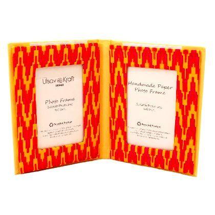 UTSAV KRAFT Exotic Yellow Orange Designer Book Shaped Double Picture Frame