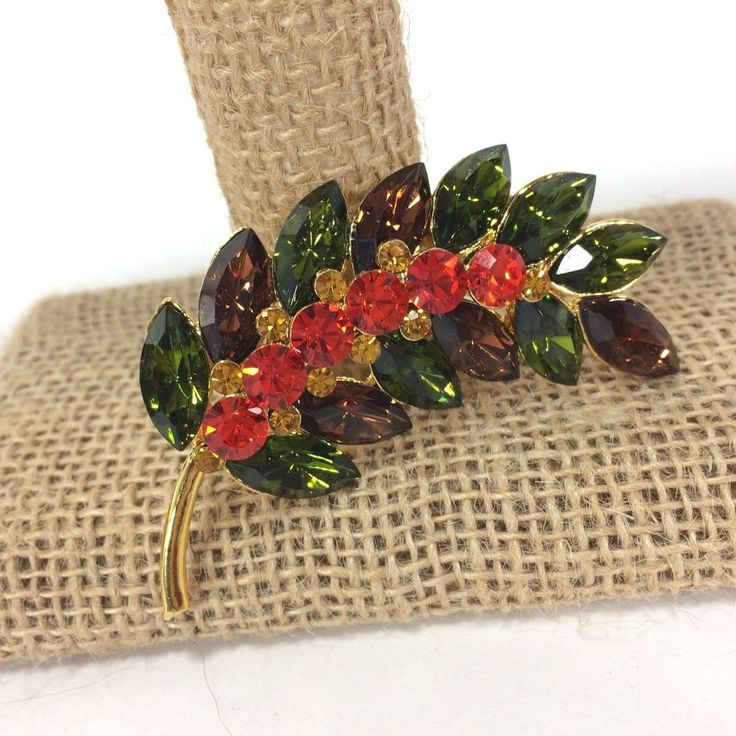 Joan Rivers Classics Collection Brooch Crystal Leaf Spray Thailand Green Brown #JoanRivers