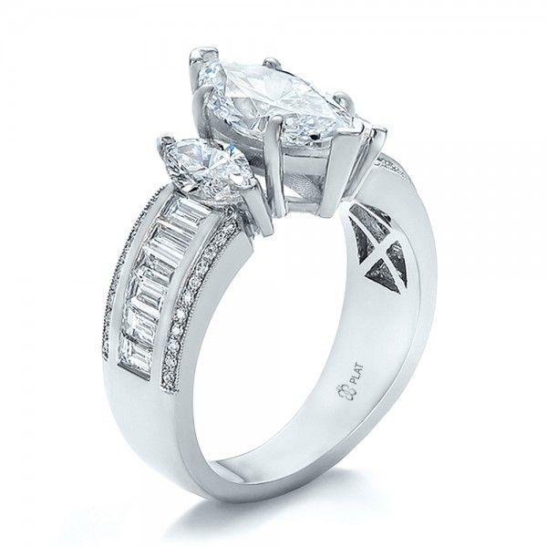 Trending Custom Three Stone Marquise and Baguette Diamond Engagement Ring