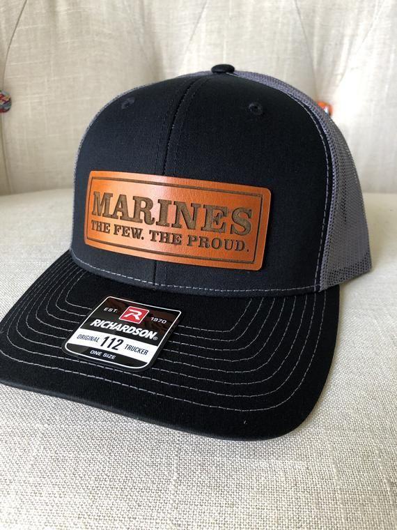 Usmc Leather Patch Hat United States Marine Corp Hat Richardson 112 Snapback Usmc Trucker Hat Marine Hat Gift For Marine Corp In 2021 Leather Patches Usmc Hat Usmc