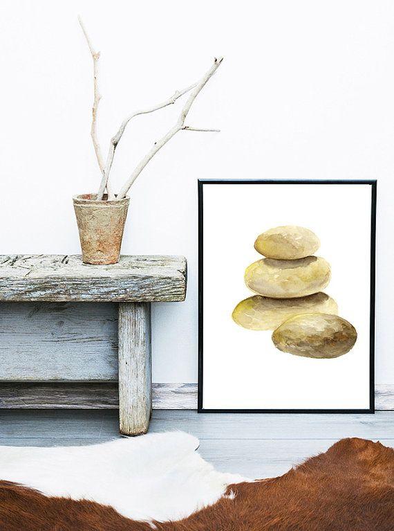Guijarros, Zen piedras acuarela, impresión del arte del guijarro, piedras apiladas, Yoga Poster, oro y marrón Resumen Home Decor