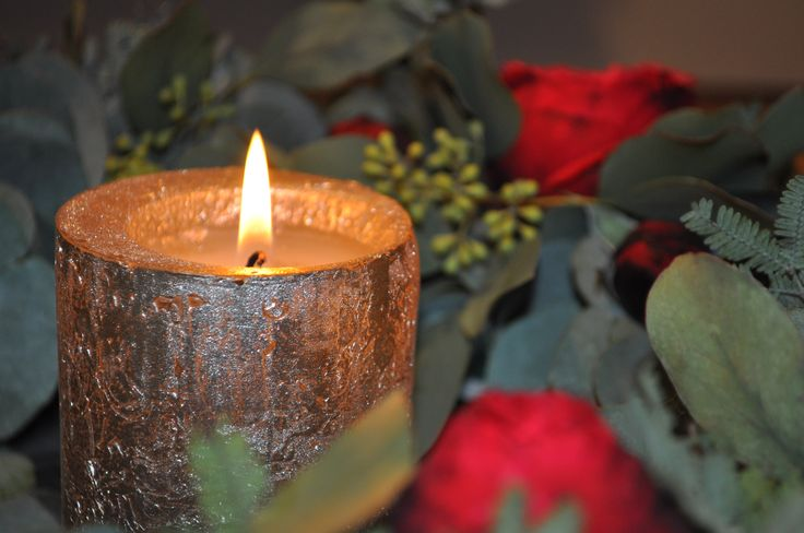 Silver candle & roses