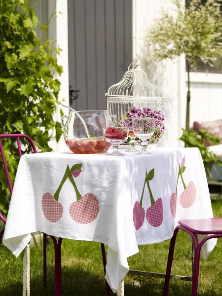 decoration white and cherry summer table decor ideas stitch cherries tablecloth ideas creative ideas