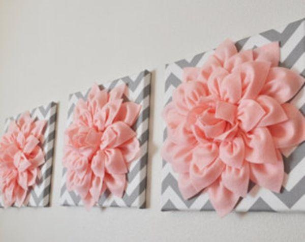 DIY 3D felt flower wall art .#diy #home decor #wall art