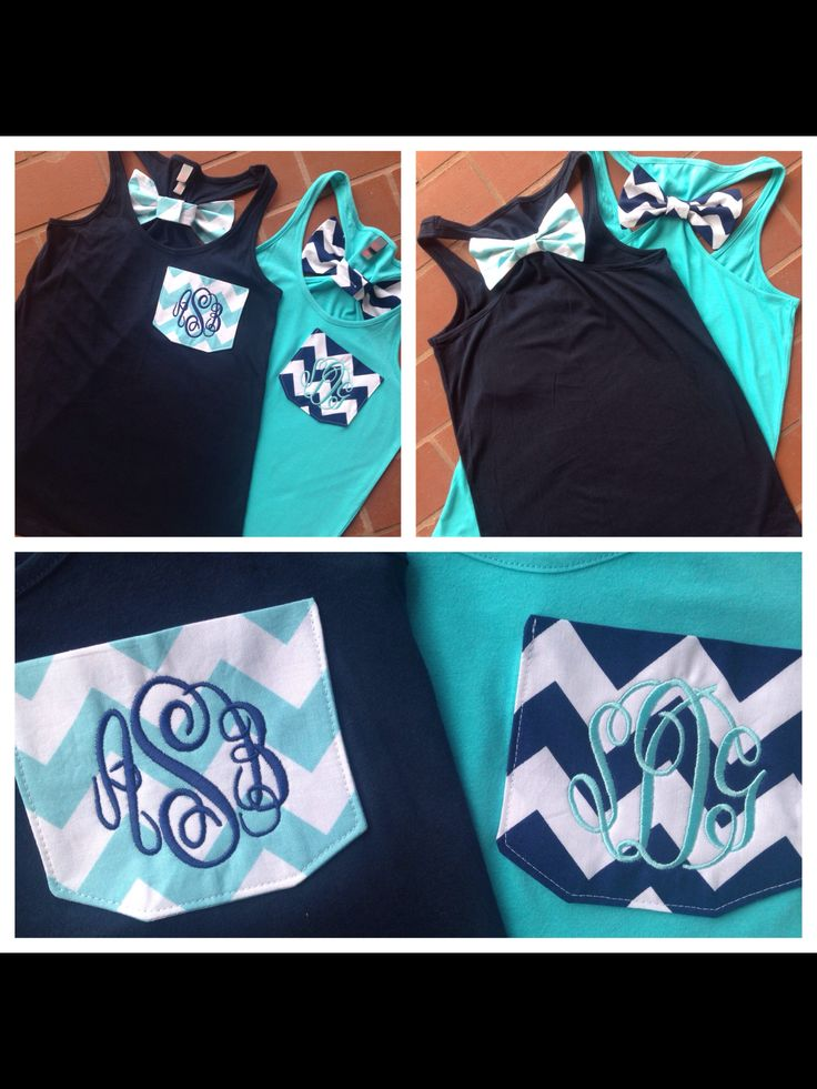 Monogrammed Chevron Pocket Racerback Shirt with Chevron Bow on Back. Cheer. Dance. Birthday Gift Idea. Best Friend Shirt idea. BFF. Great summer shirt for vacation or bathing suit coverup. www.tinytulip.com
