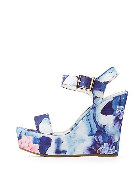688d8a141ade Bamboo Floral Wedge Sandals