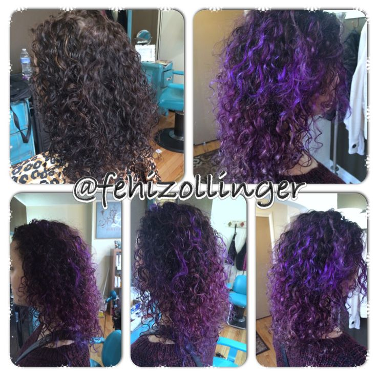 Dimentional Purple Hair On Natural Curly Hair Balayage Purple Highlights And Lowlights Fehizollinger Balayage Hair Purple Curly Hair Styles Purple Balayage